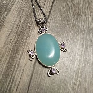 Chalcedony, Amythest pendant in Sterling Silver